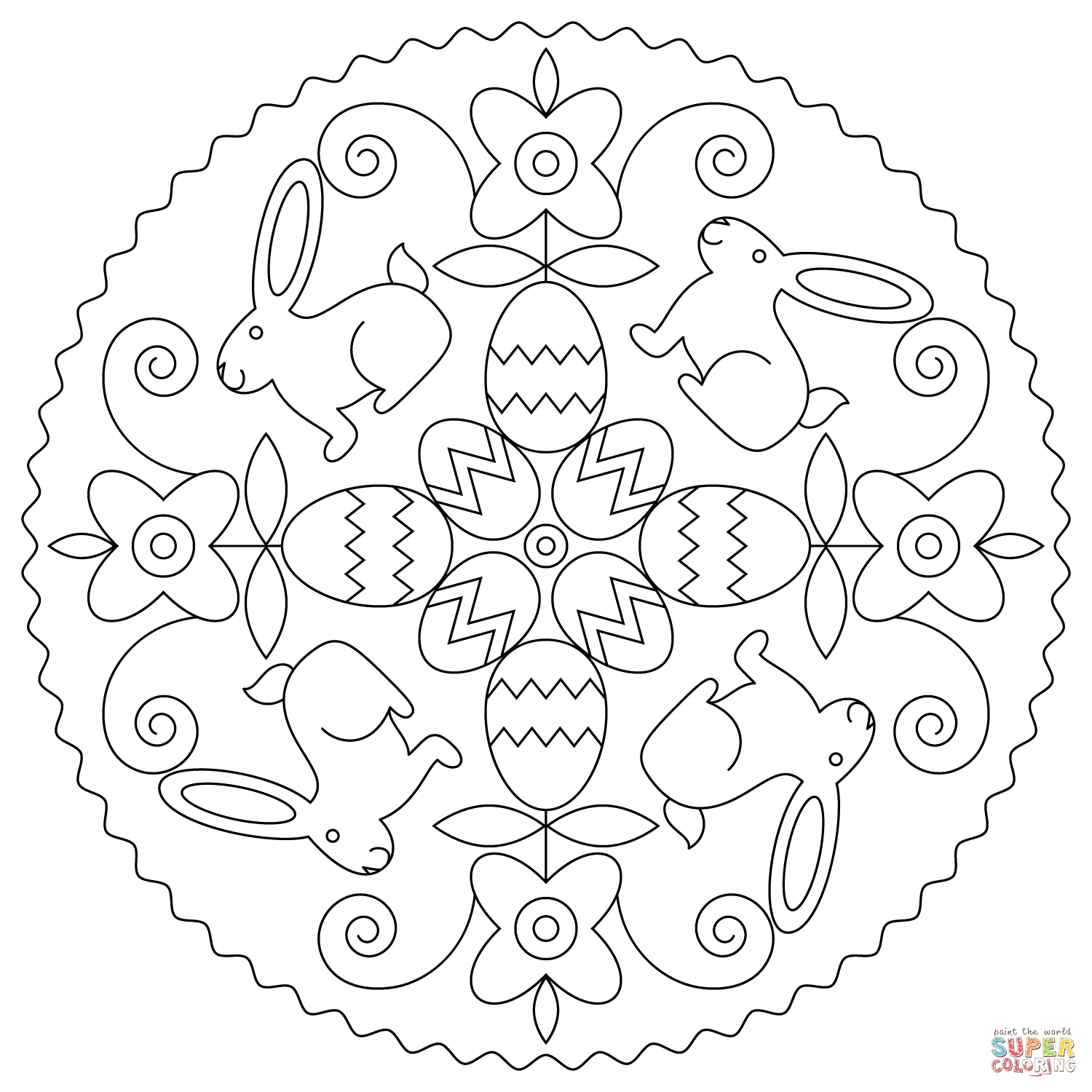 Easter Mandala With Bunny And Eggs Coloring Page
