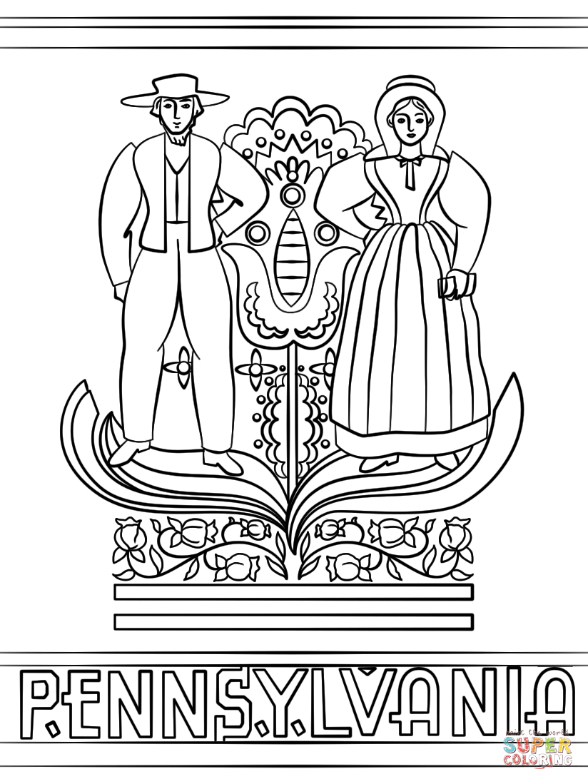 Pennsylvania Dutch Coloring Page Free Printable Coloring
