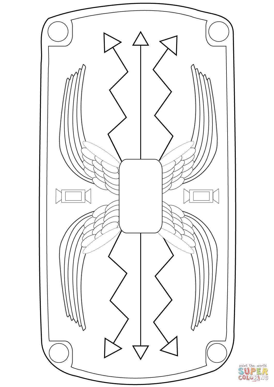 Roman Shield Coloring Page