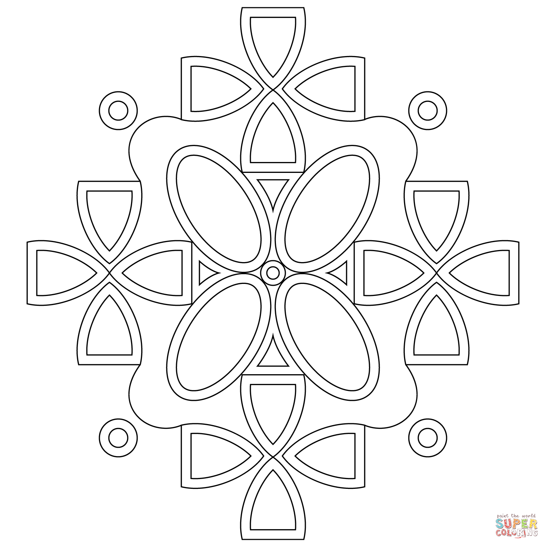 Symmetric Mandala Coloring Page