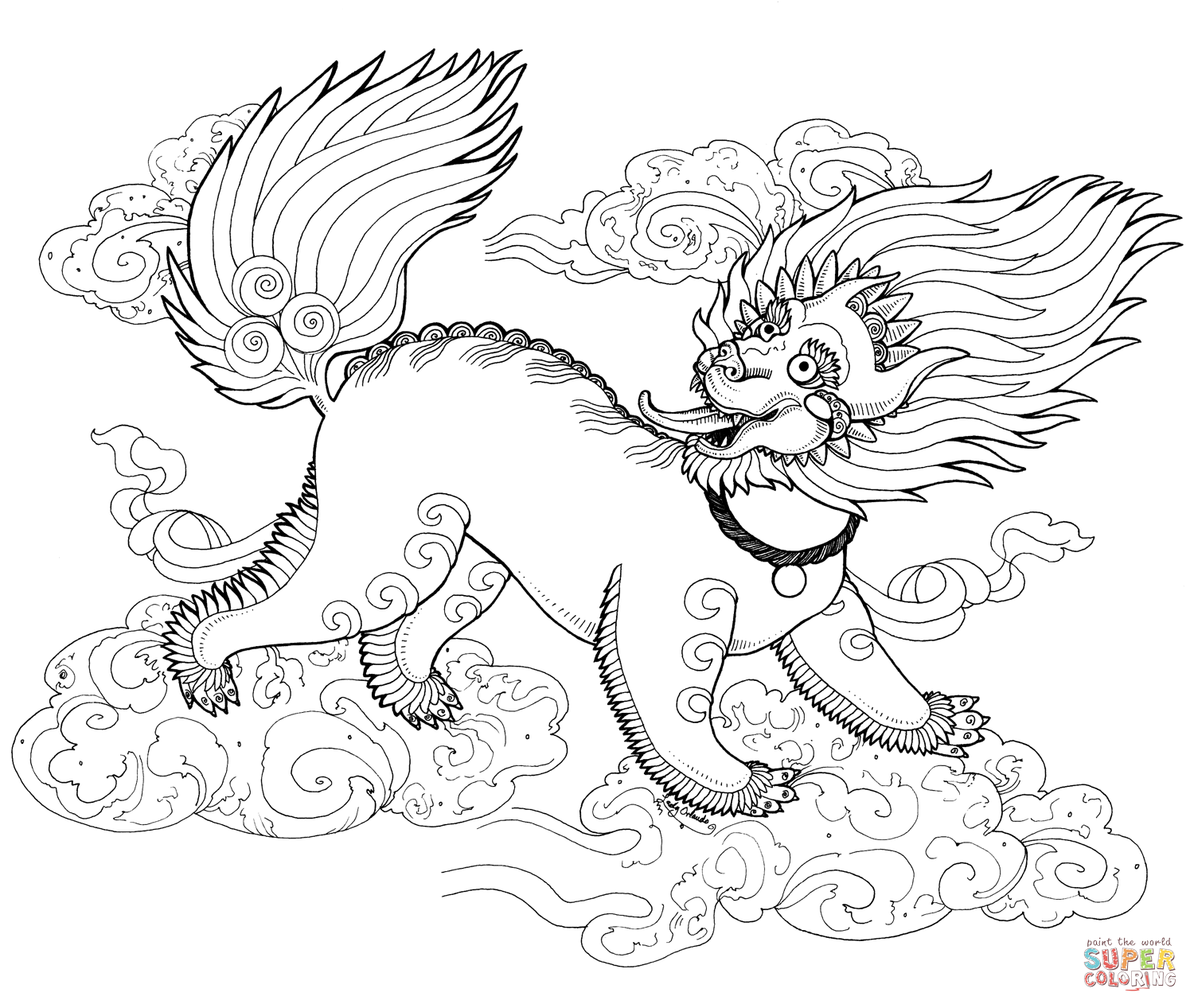 Snow Lion Zentangle Coloring Page Free Printable