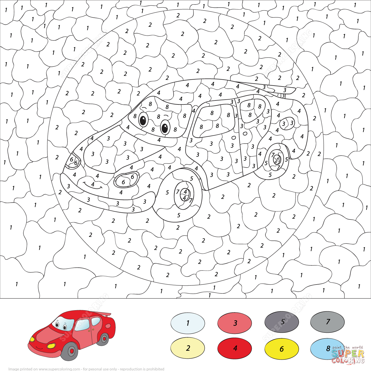 Cartoon Car Color By Number