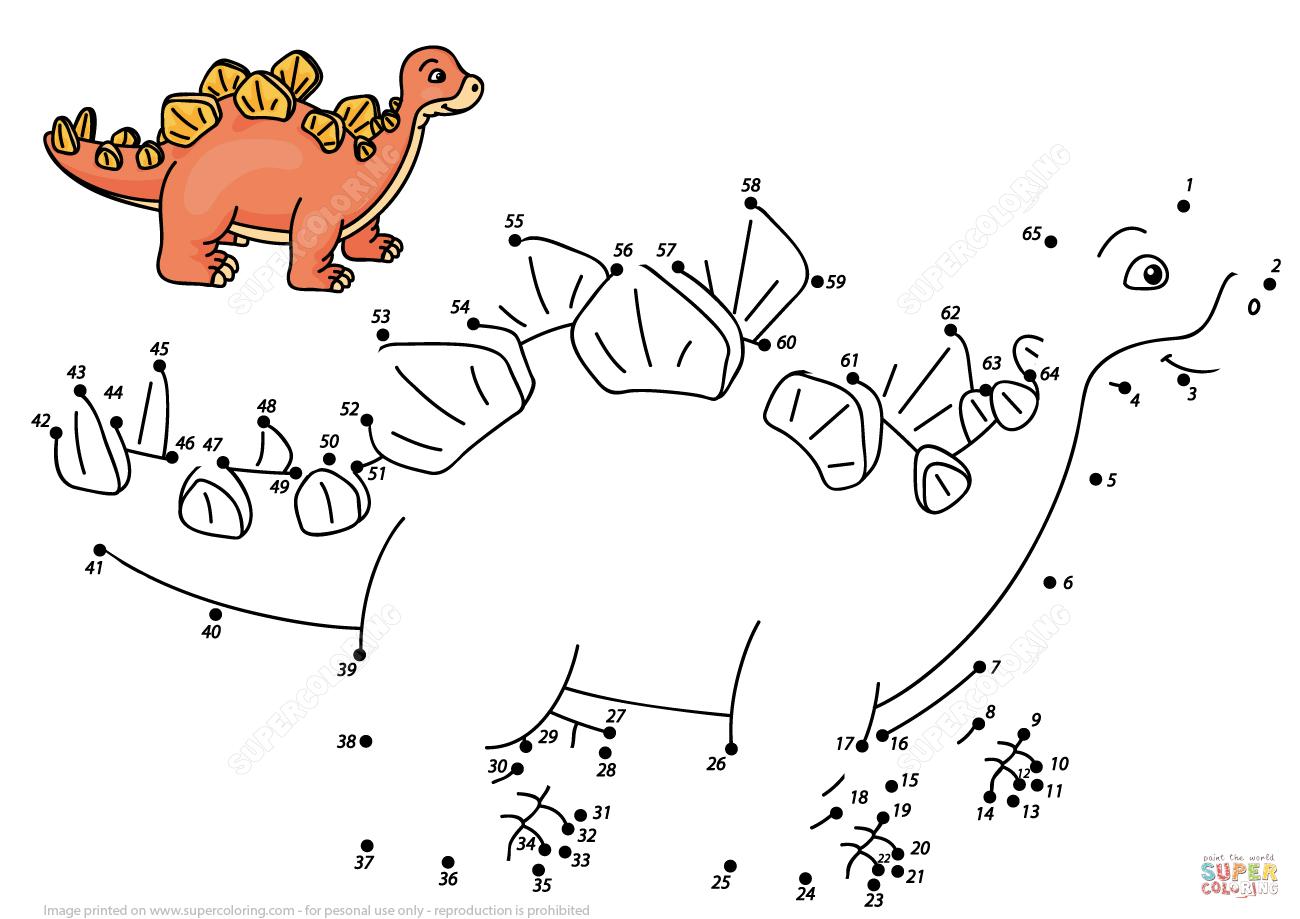 Cartoon Stegosaurus Dot To Dot