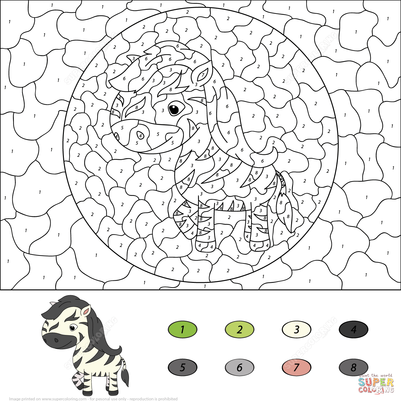 Cartoon Zebra Color By Number