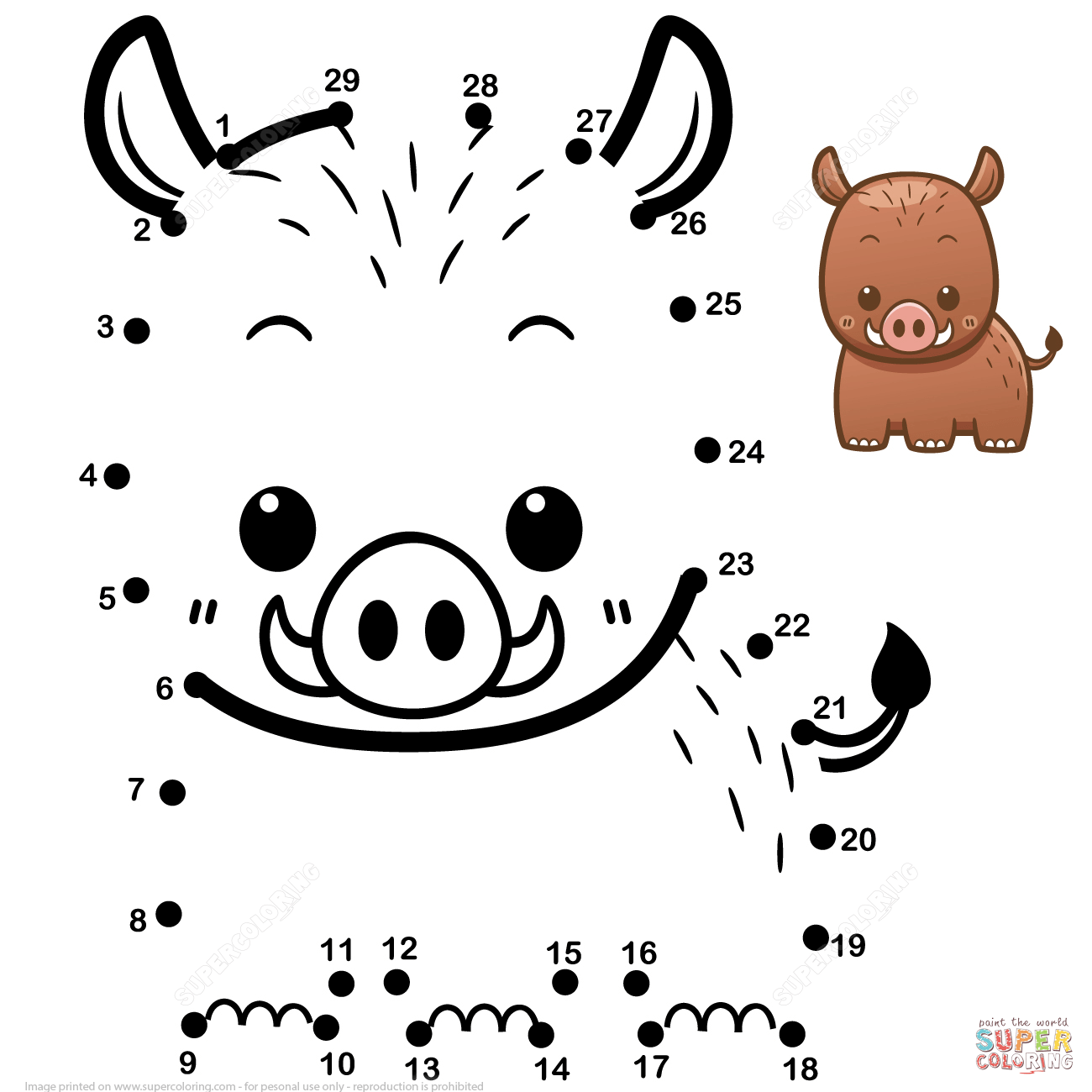 Cute Baby Boar Dot To Dot