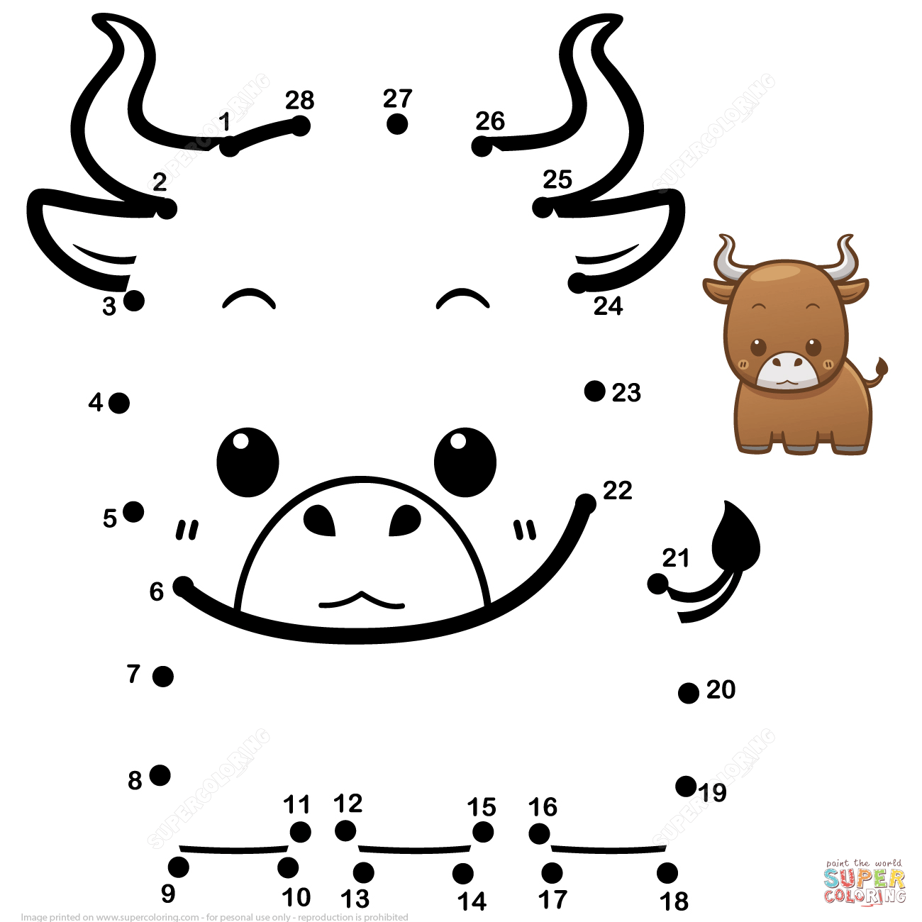 Cute Baby Bull Dot To Dot