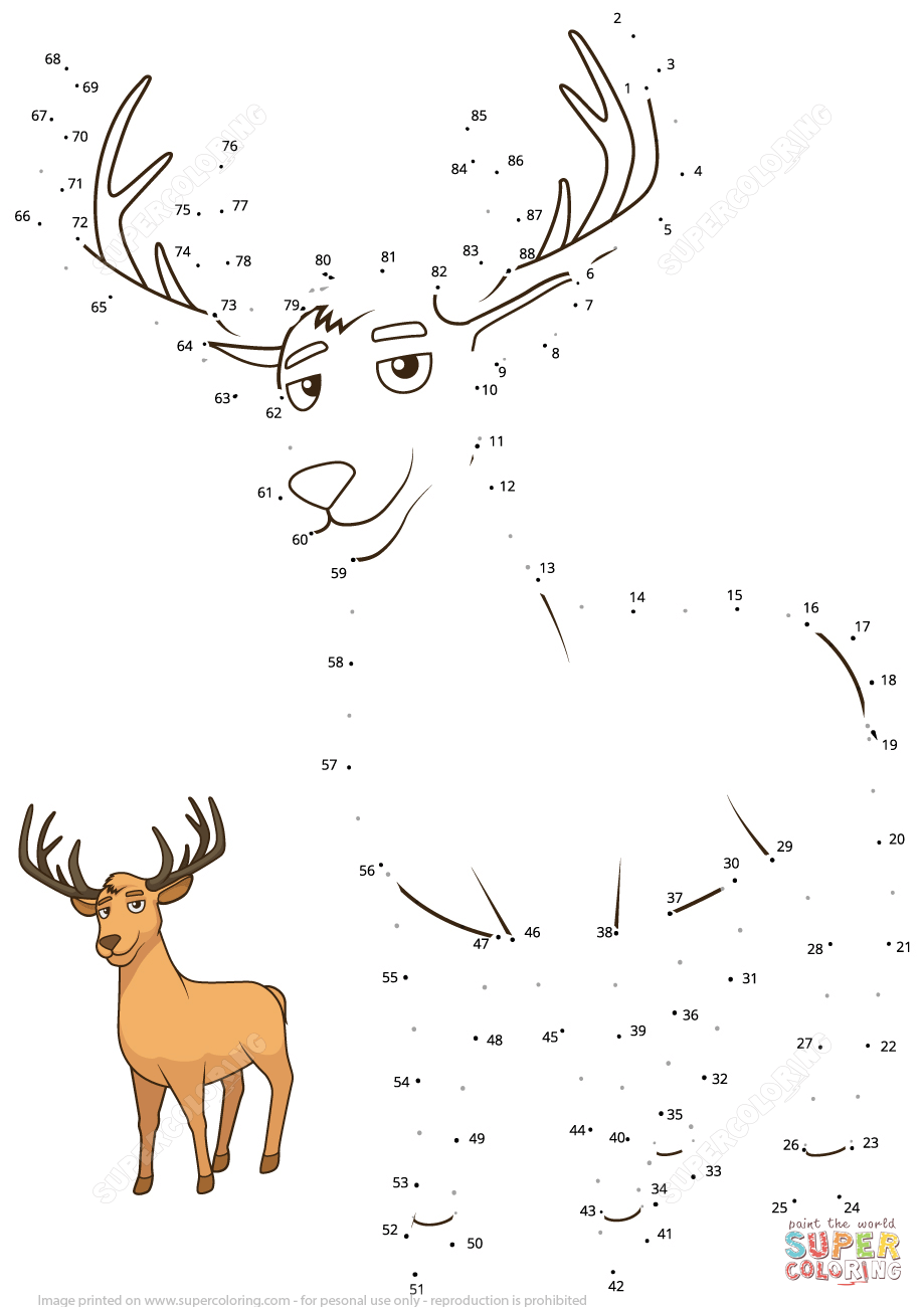 Deer Dot To Dot Free Printable Coloring Pages