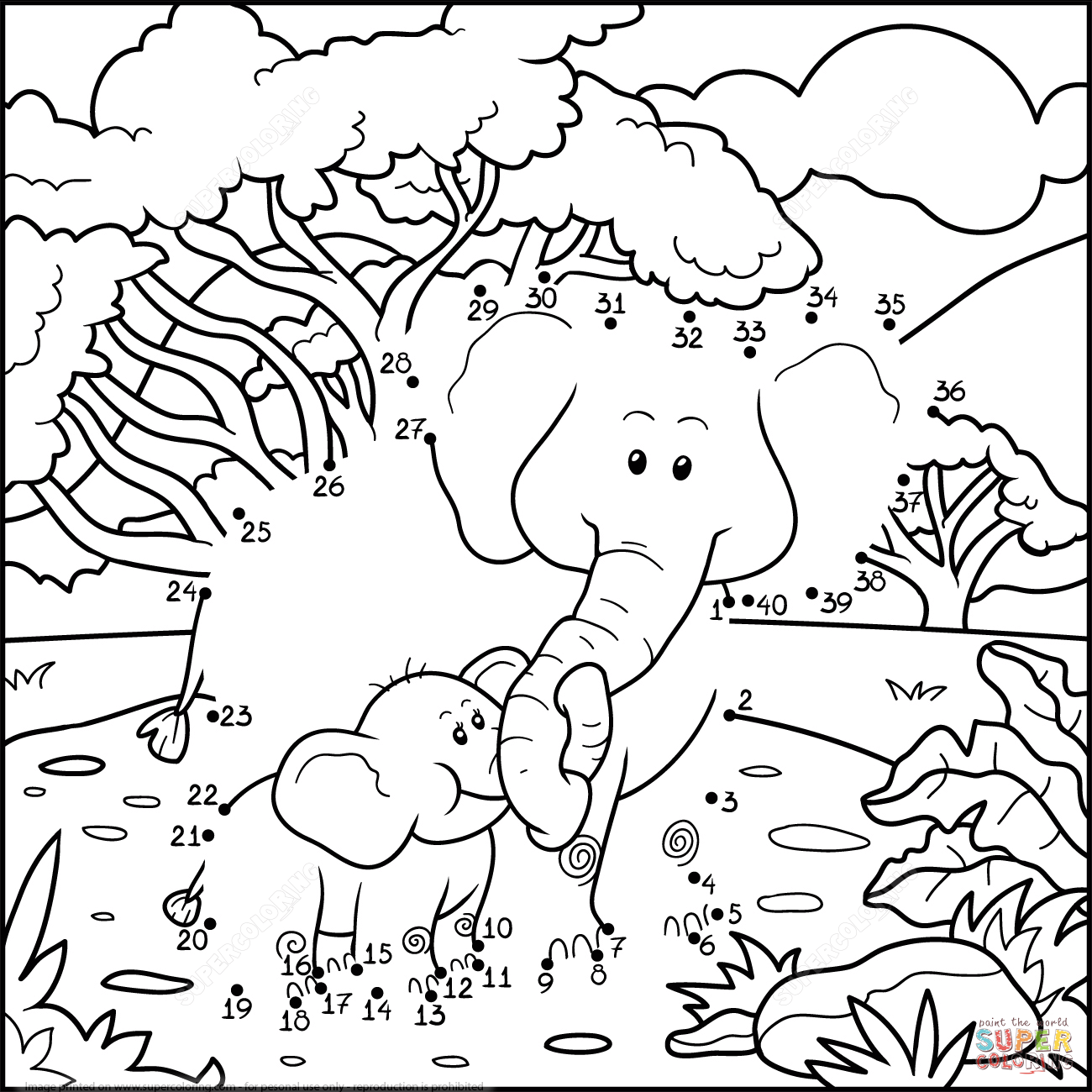 Elephant Mother With Baby Elephant Dot To Dot