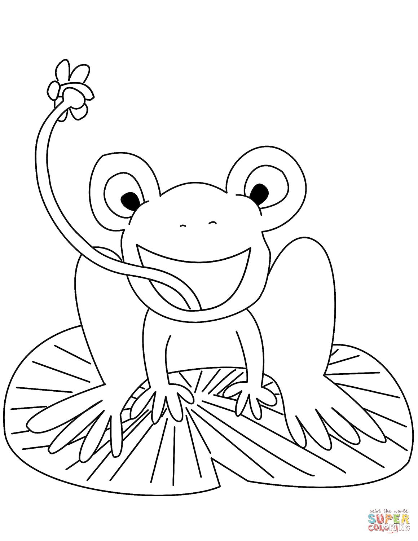 Desenho De Ra No Nenufar Para Colorir