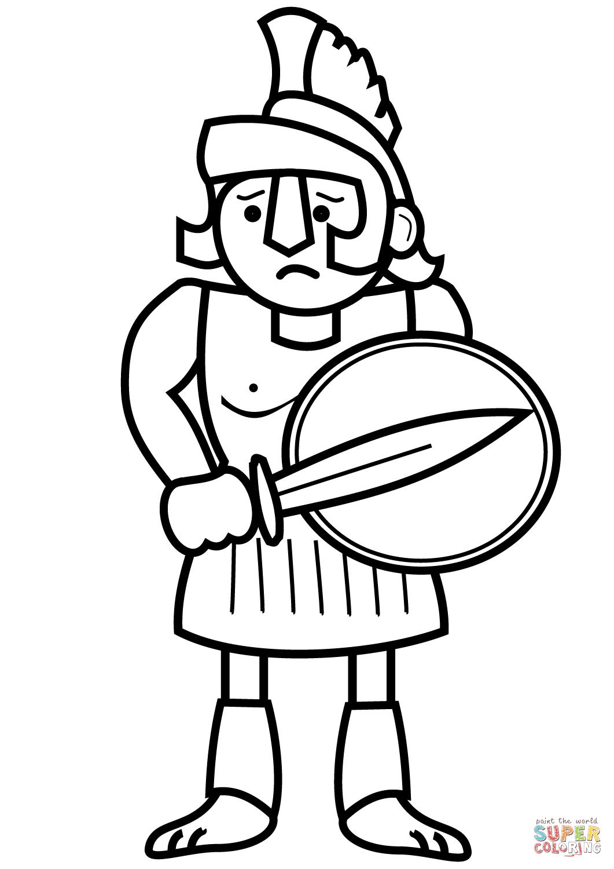 Cartoon Ancient Greek Sol R Coloring Page