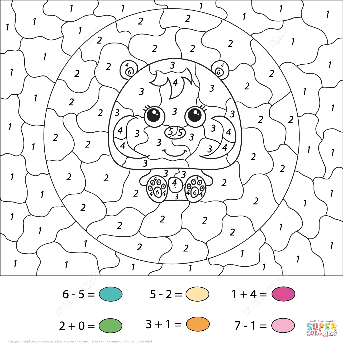 Hamster Calculation Color By Number