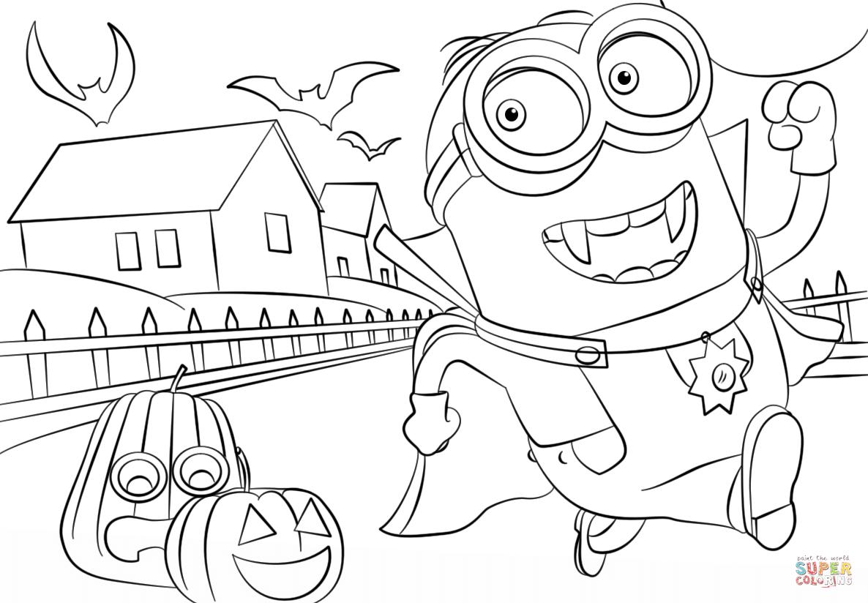 Minions Hallowen Coloring Page