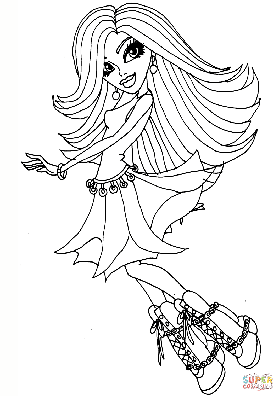 Monster High Spectra Vondergeist Doll Coloring Page
