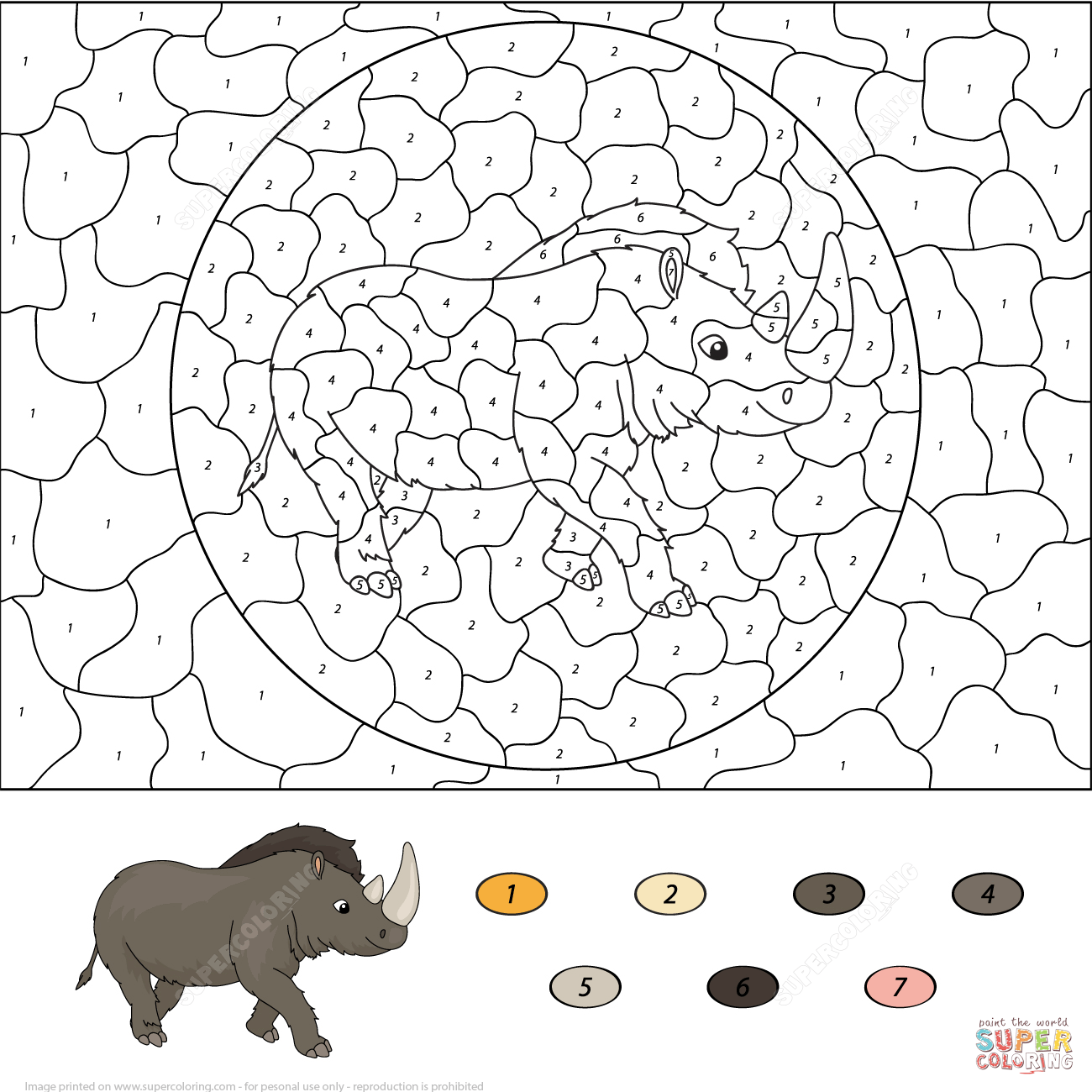 Prehistoric Rhinoceros Color By Number