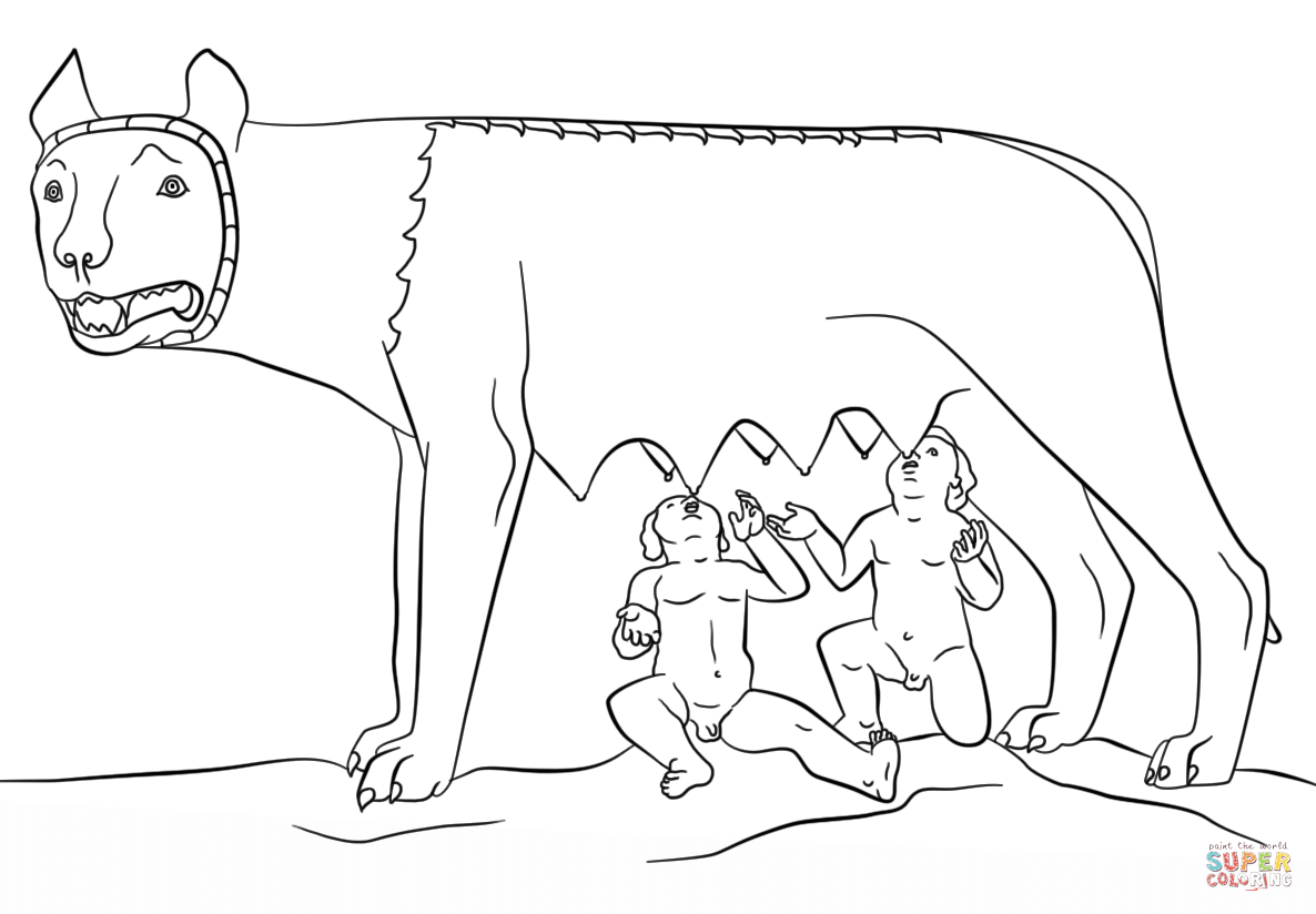Romulus And Remus With The She Wolf Coloring Page