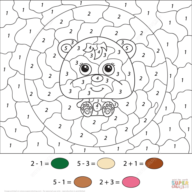 Little Cartoon Bear Color by Number  Free Printable Coloring Pages