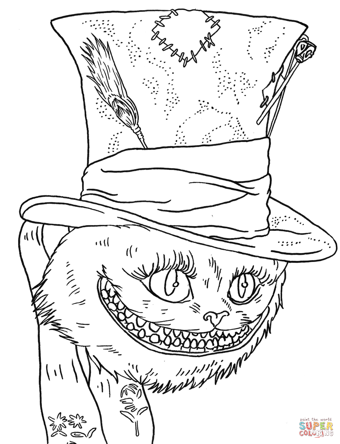 Tim Burton S Cheshire Cat Coloring Page