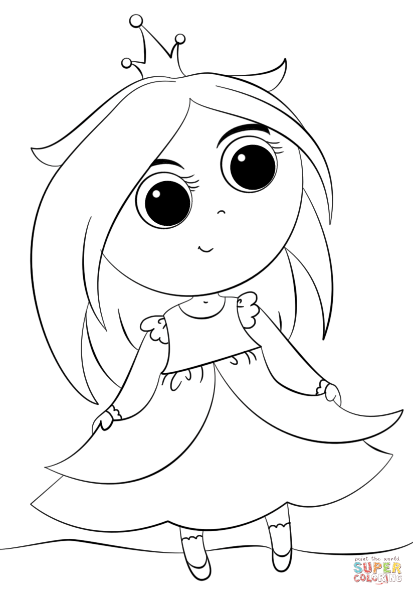 Cute Little Princess Coloring Page Free Printable