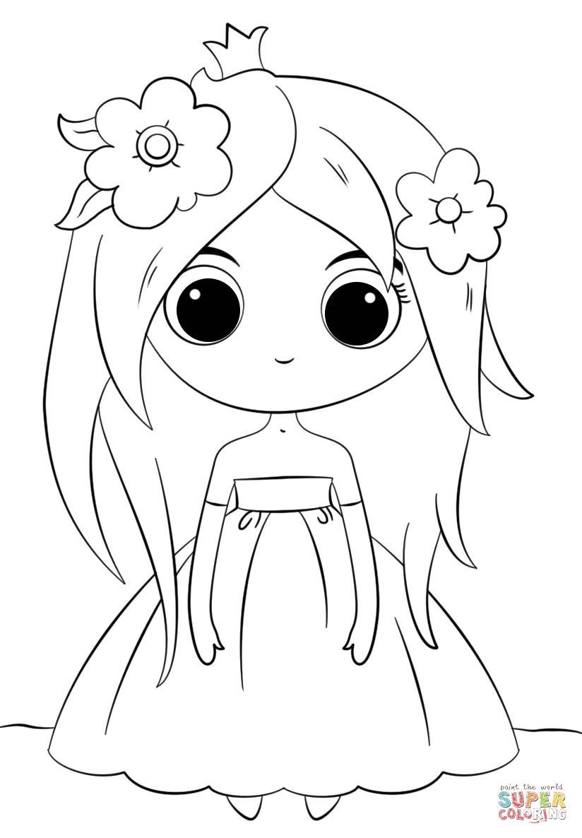 Cute Chibi Princess Coloring Page Free Printable Coloring Pages