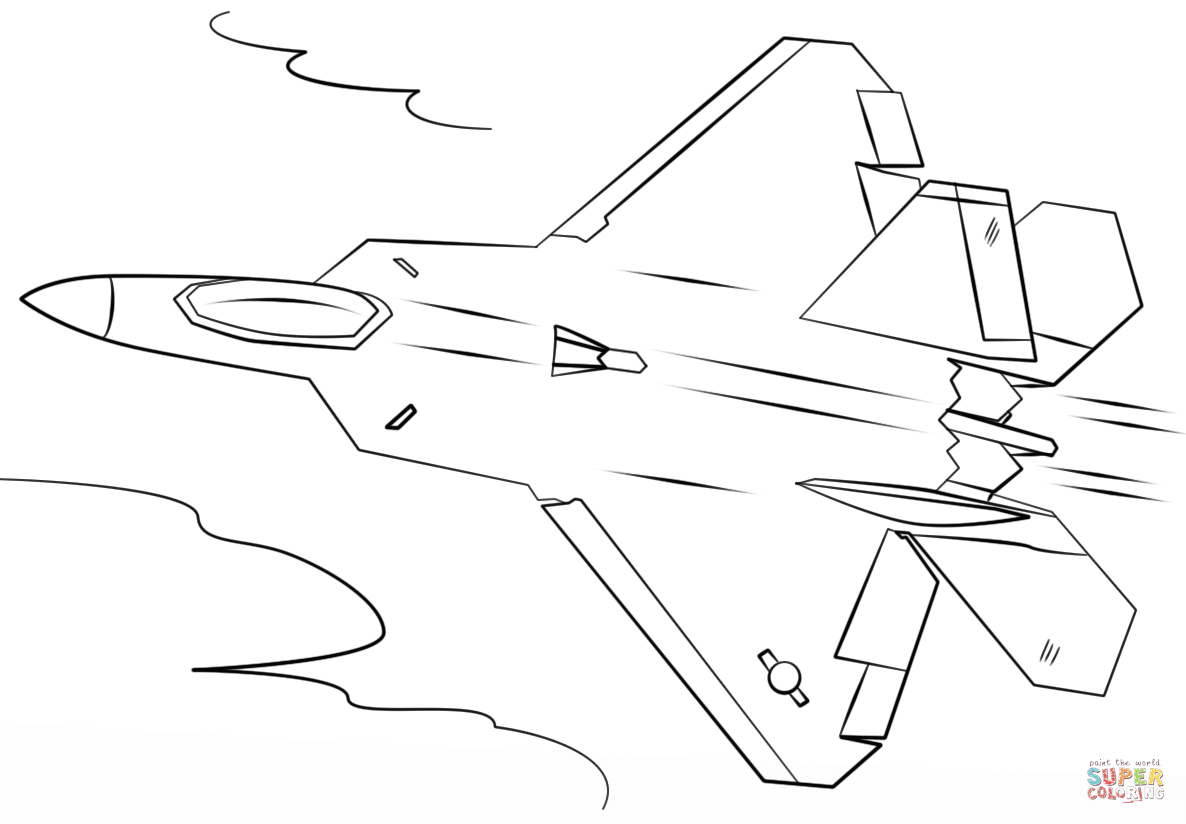 F 22 Raptor Coloring Page