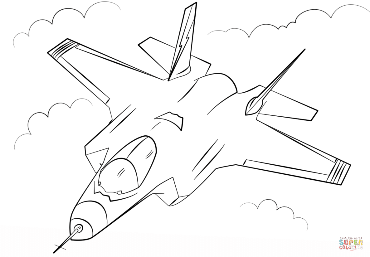 Stealth Multirole Fighter F 35 Coloring Page