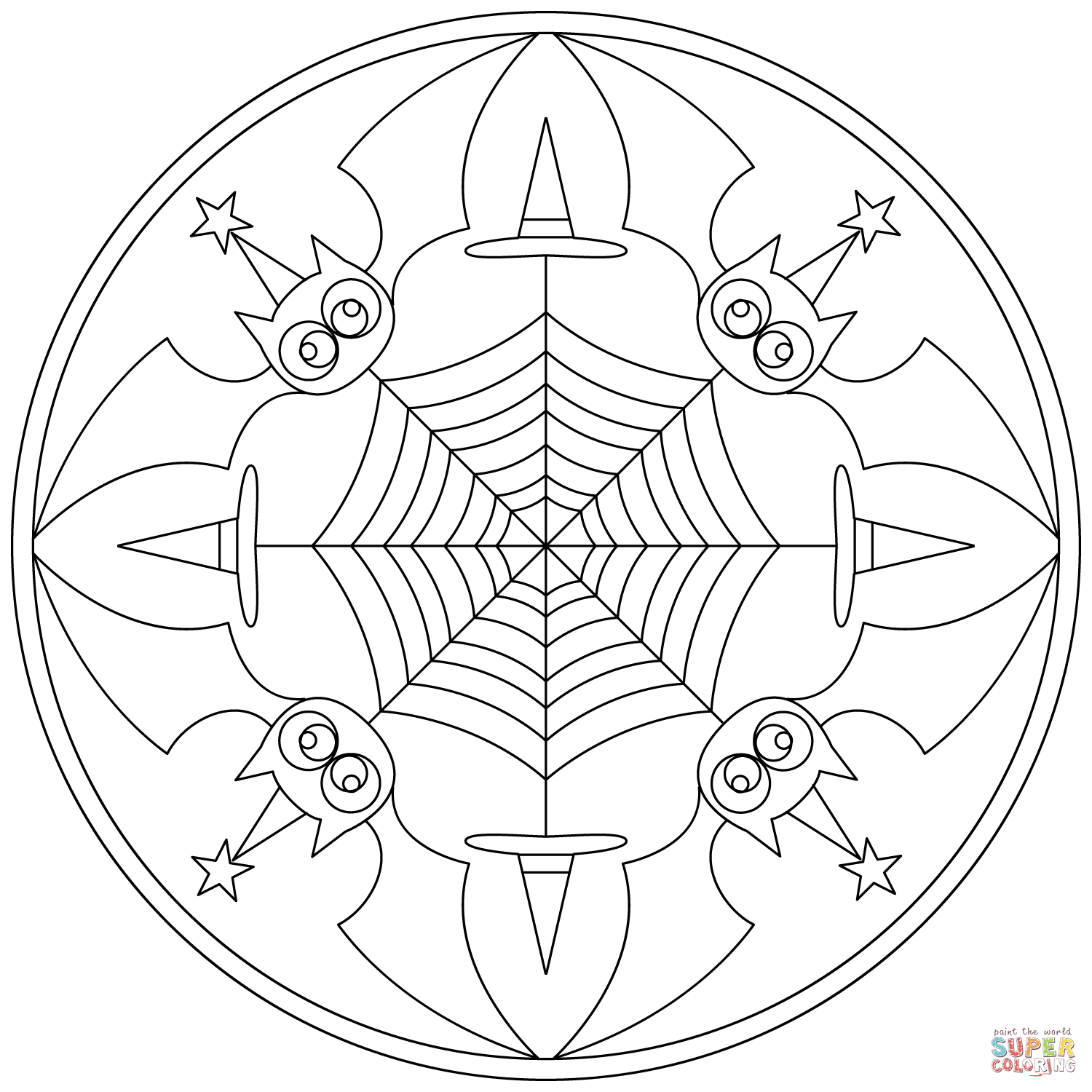 Halloween Mandala With Bats Coloring Page