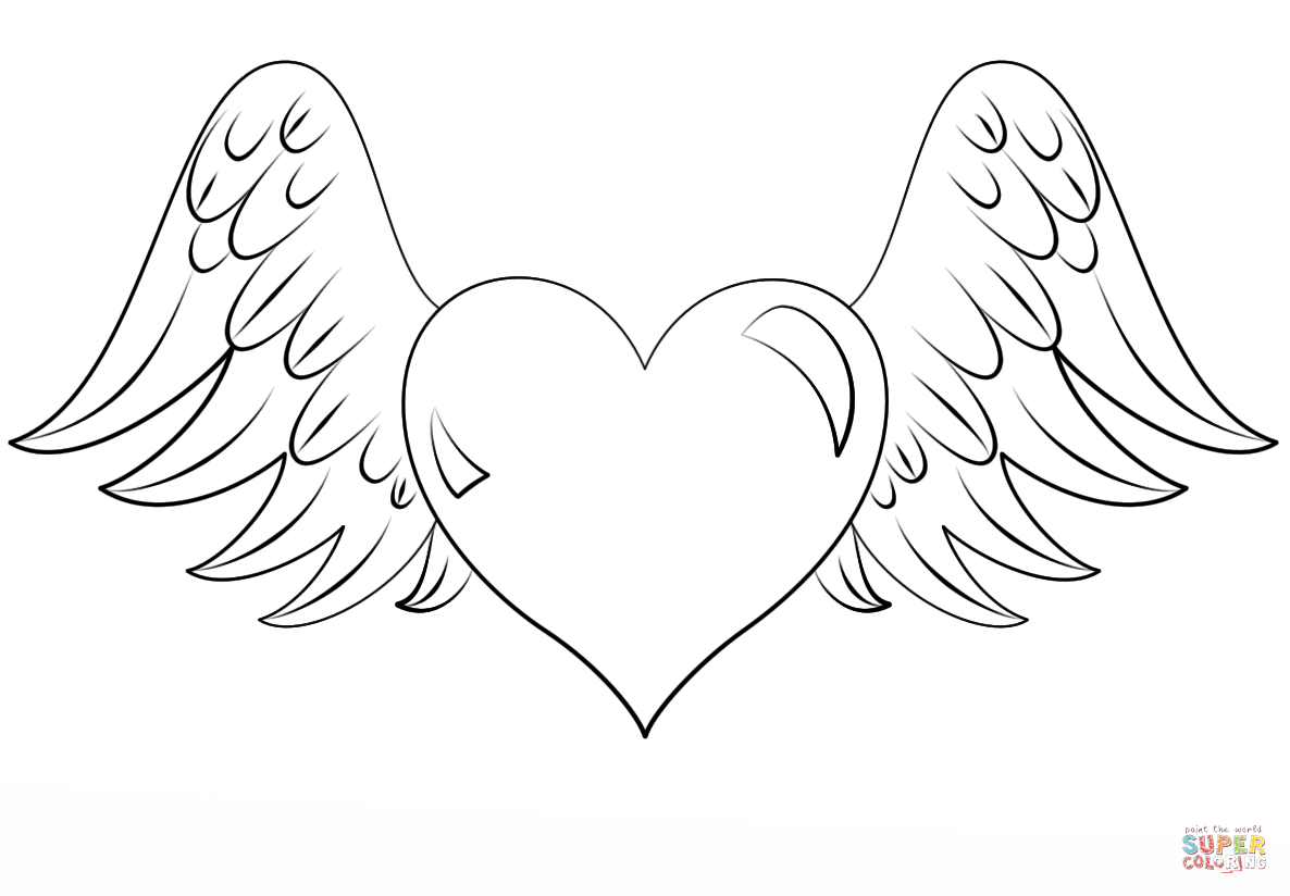 Heart With Wings Coloring Page