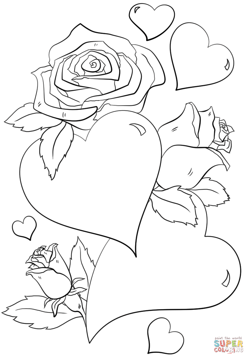 Hearts And Roses Coloring Page Free Printable Coloring Pages