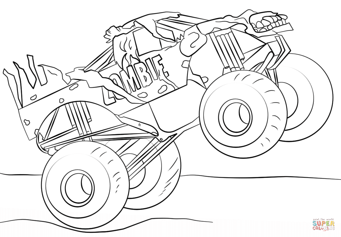 Zombie Monster Truck Coloring Page