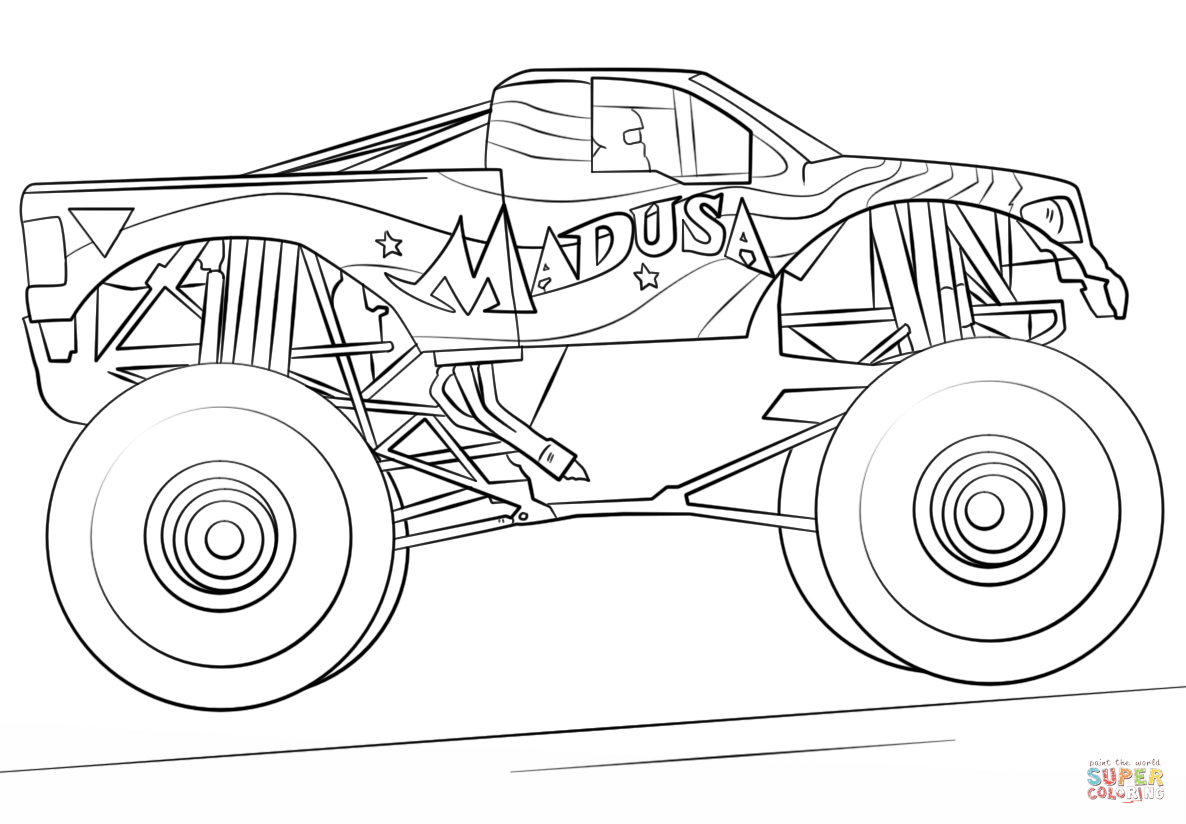 Madusa Monster Truck Coloring Page