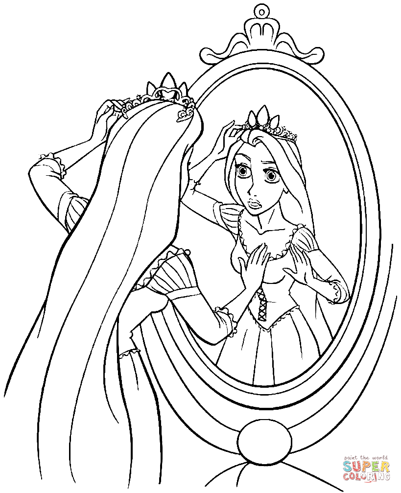 Princess Rapunzel Coloring Page Free Printable Coloring Pages