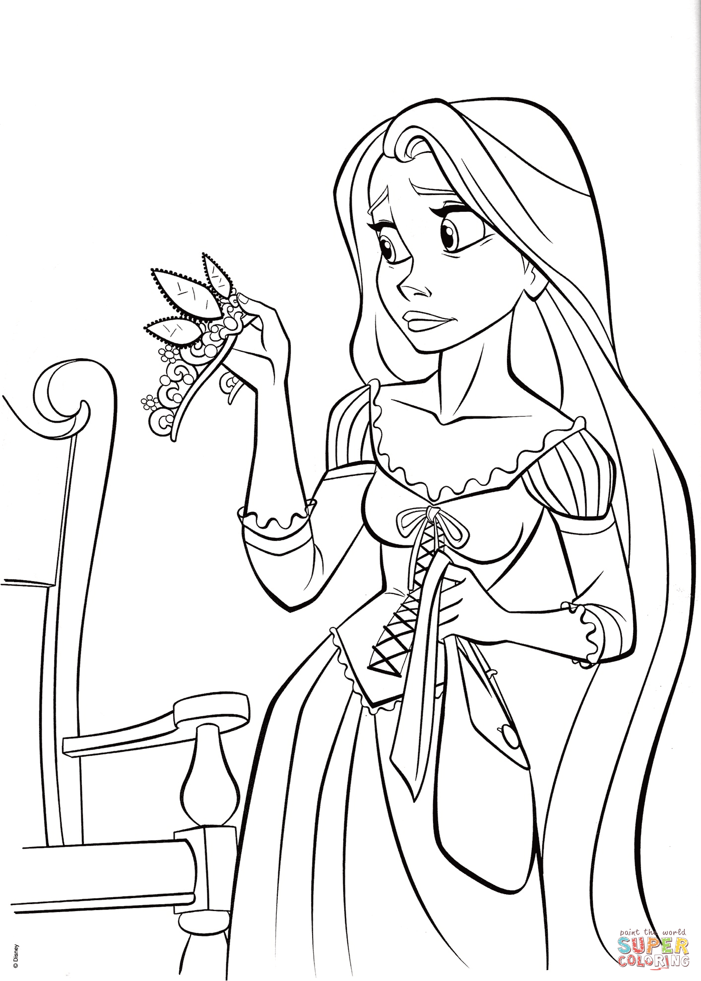 Princess Rapunzel With Crown Coloring Page