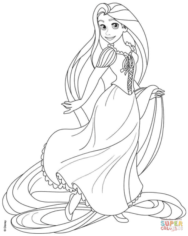 Rapunzel from Disney Tangled coloring page  Free Printable