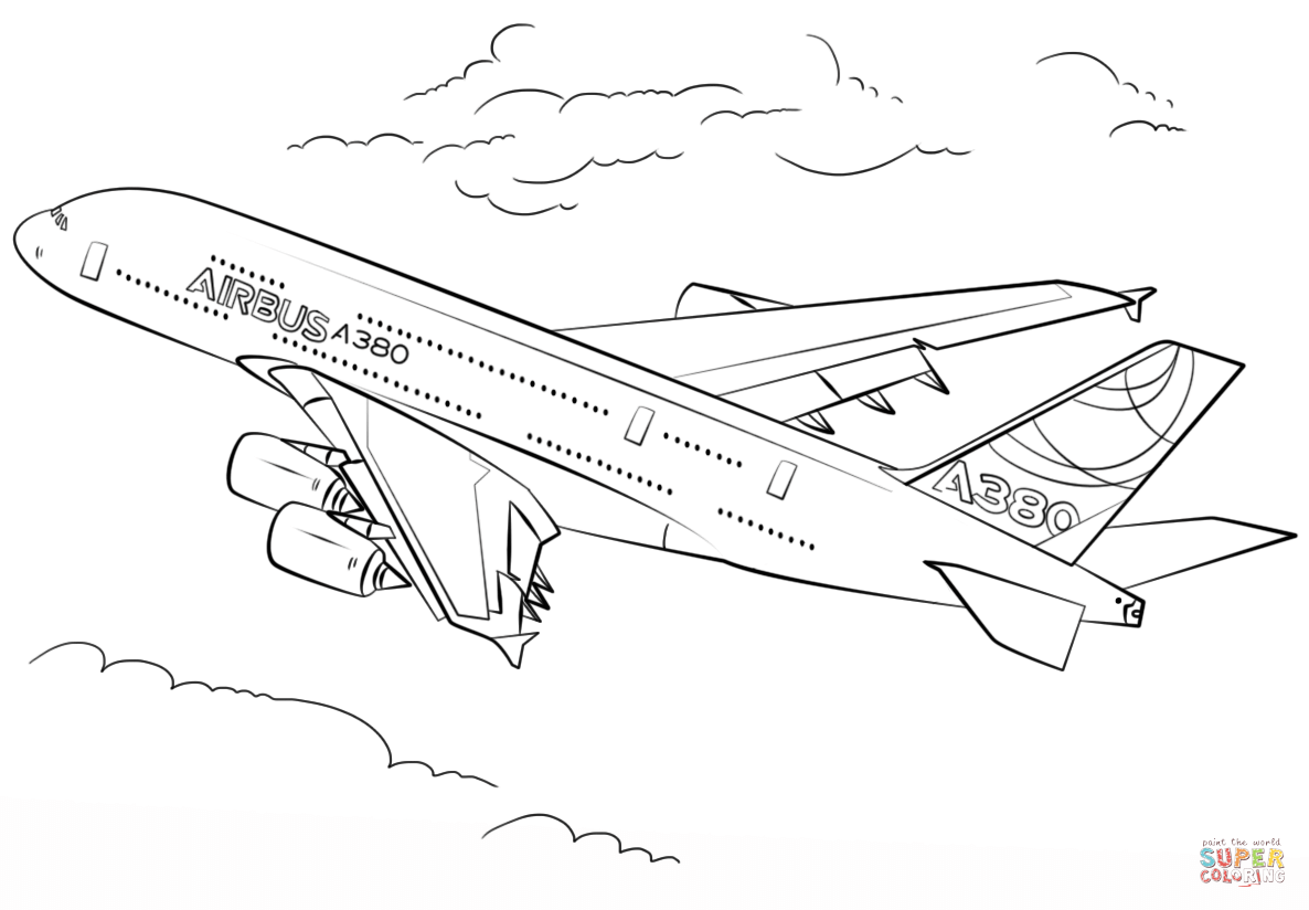 Airbus A380 Coloring Page