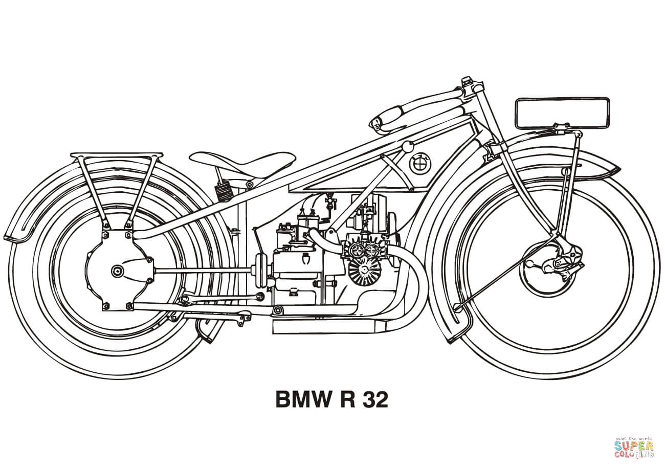 Bmw R32 Motorcycle Coloring Page