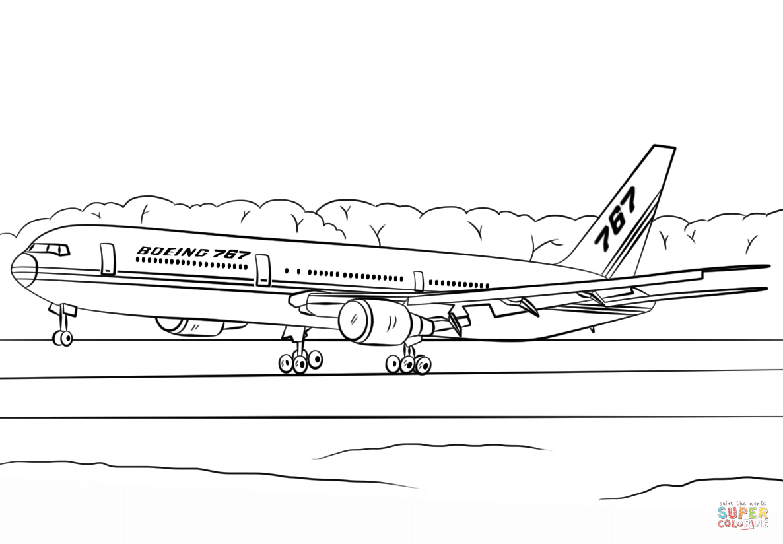 Ausmalbild Boeing 767 400er