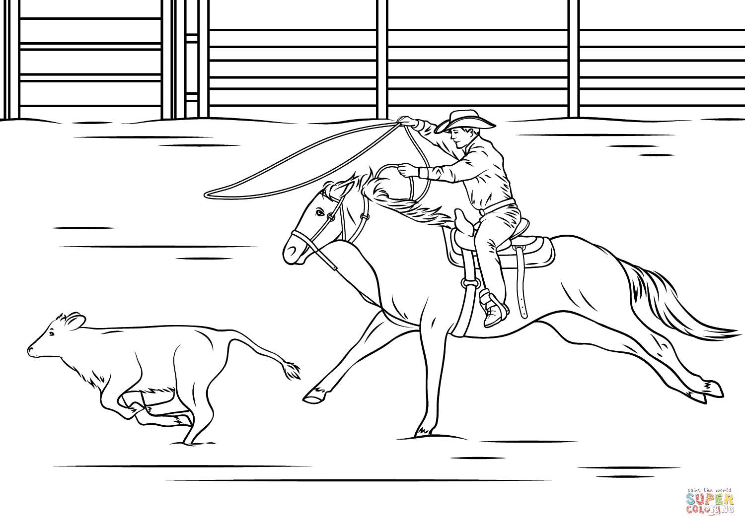 Calf Roping Rodeo Coloring Page