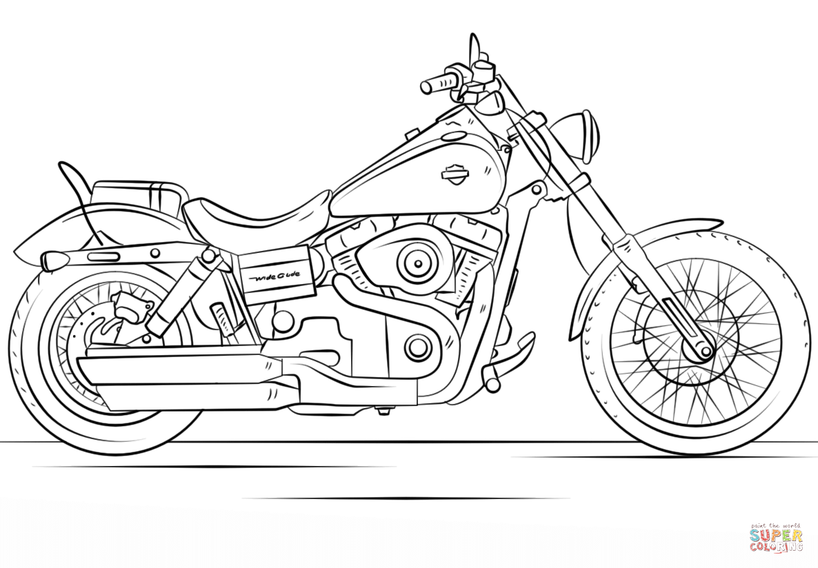 Harley Davidson Motorcycle Coloring Page