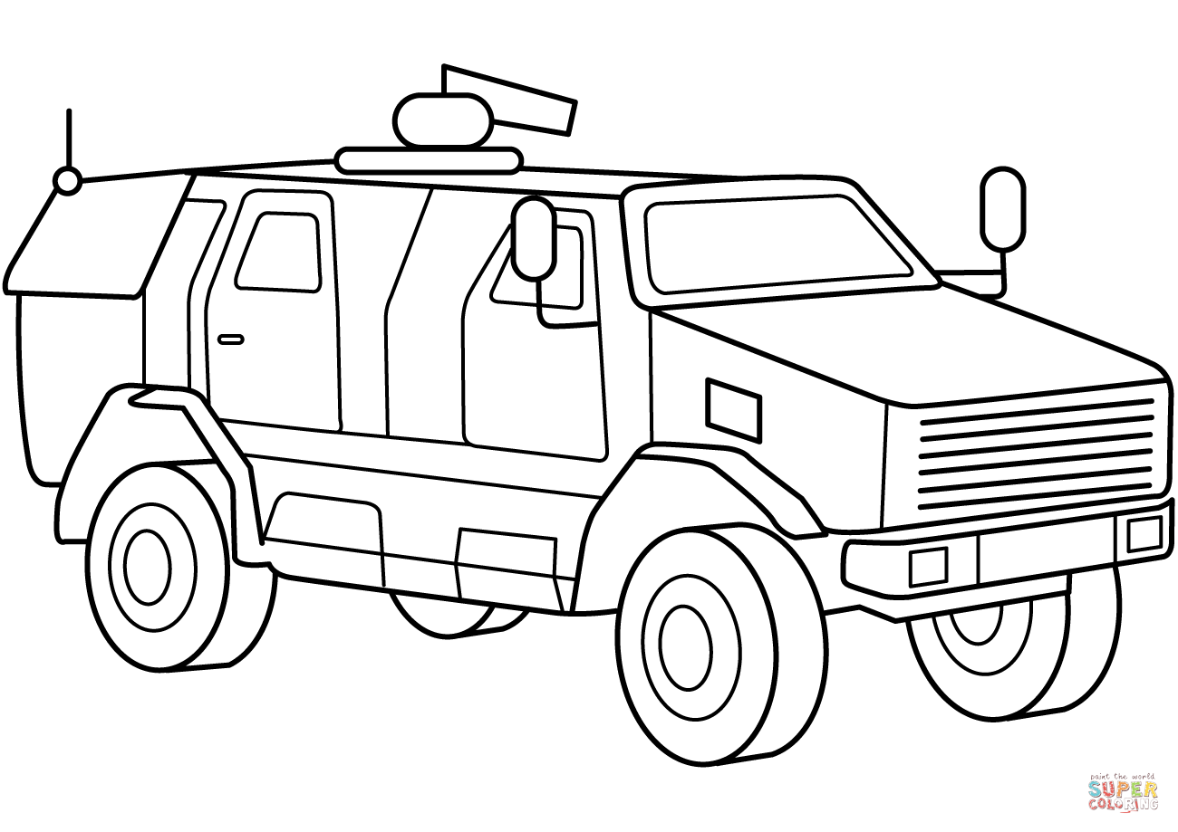 Military Armored Mrap Vehicle Coloring Page