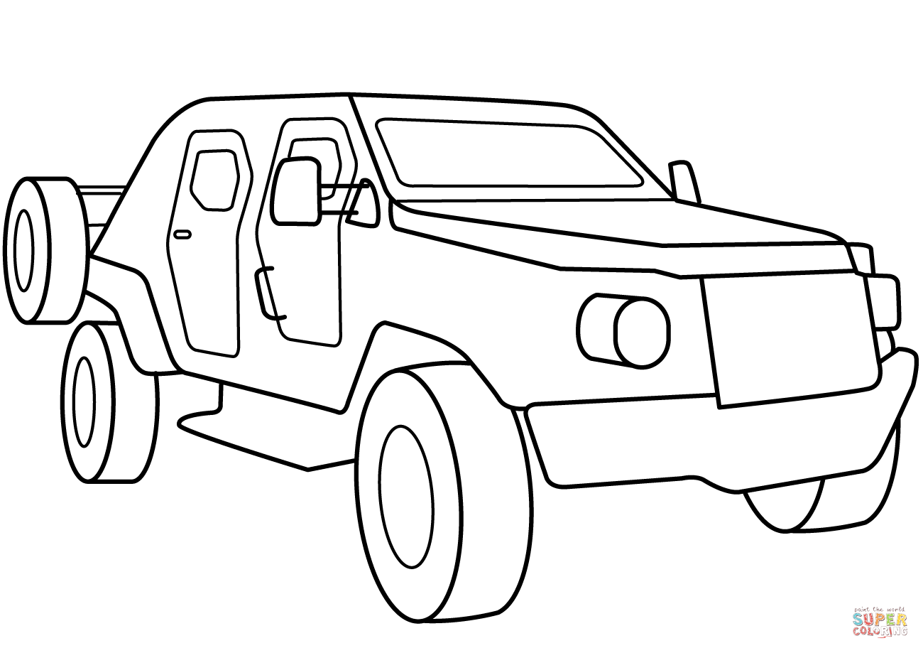 Military Armored Scout Car Coloring Page