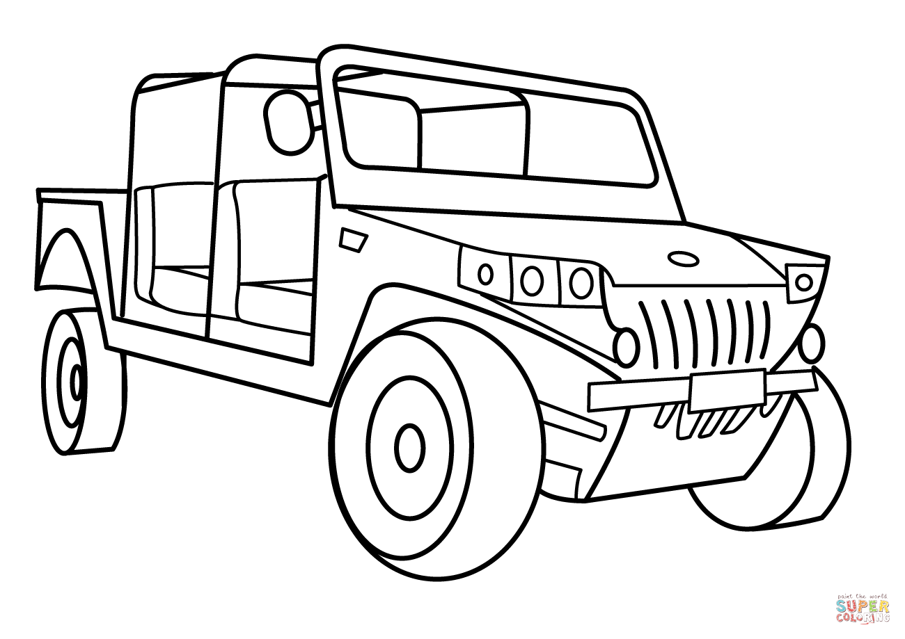 Military Light Utility Vehicle Coloring Page