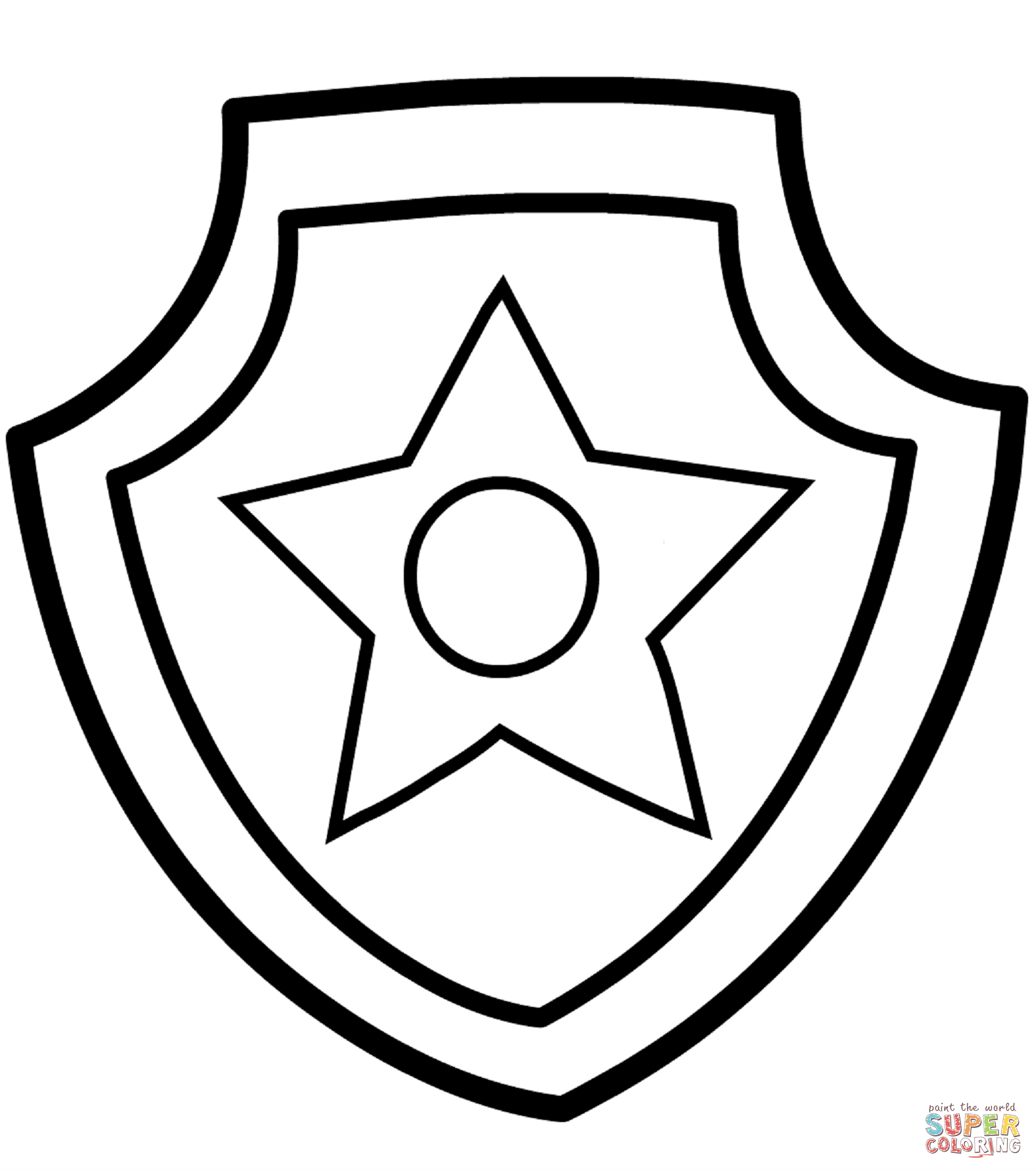 Paw Patrol Chase Badge Coloring Page Free Printable Coloring Pages