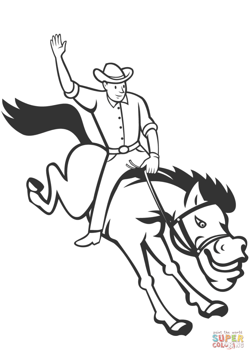 rodeo cowboy riding bucking bronco coloring page  free