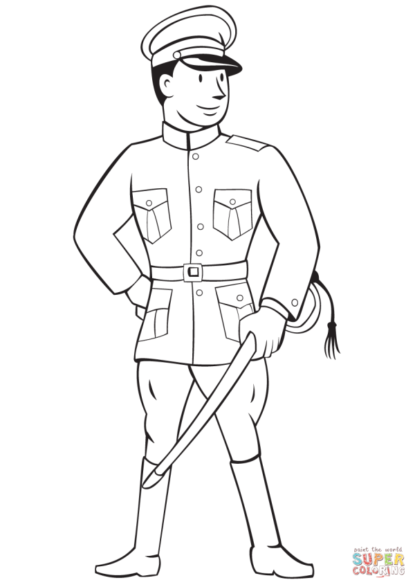 World War 1 Officer coloring page   Free Printable ...