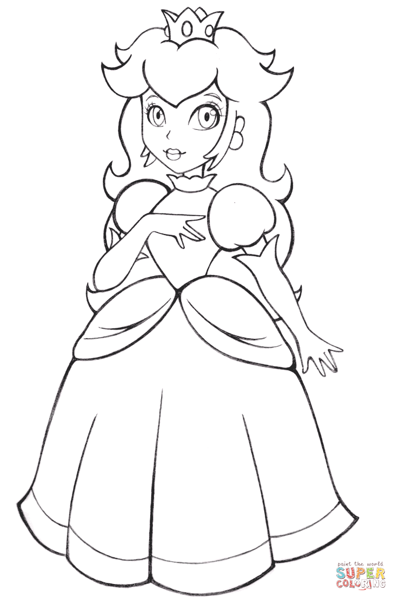 Beautiful Princess Peach Coloring Page Free Printable Coloring Pages