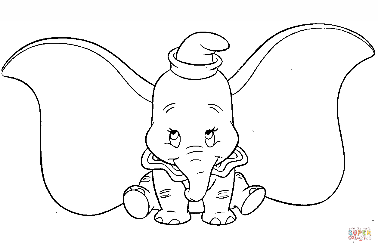 Cute Dumbo Coloring Page
