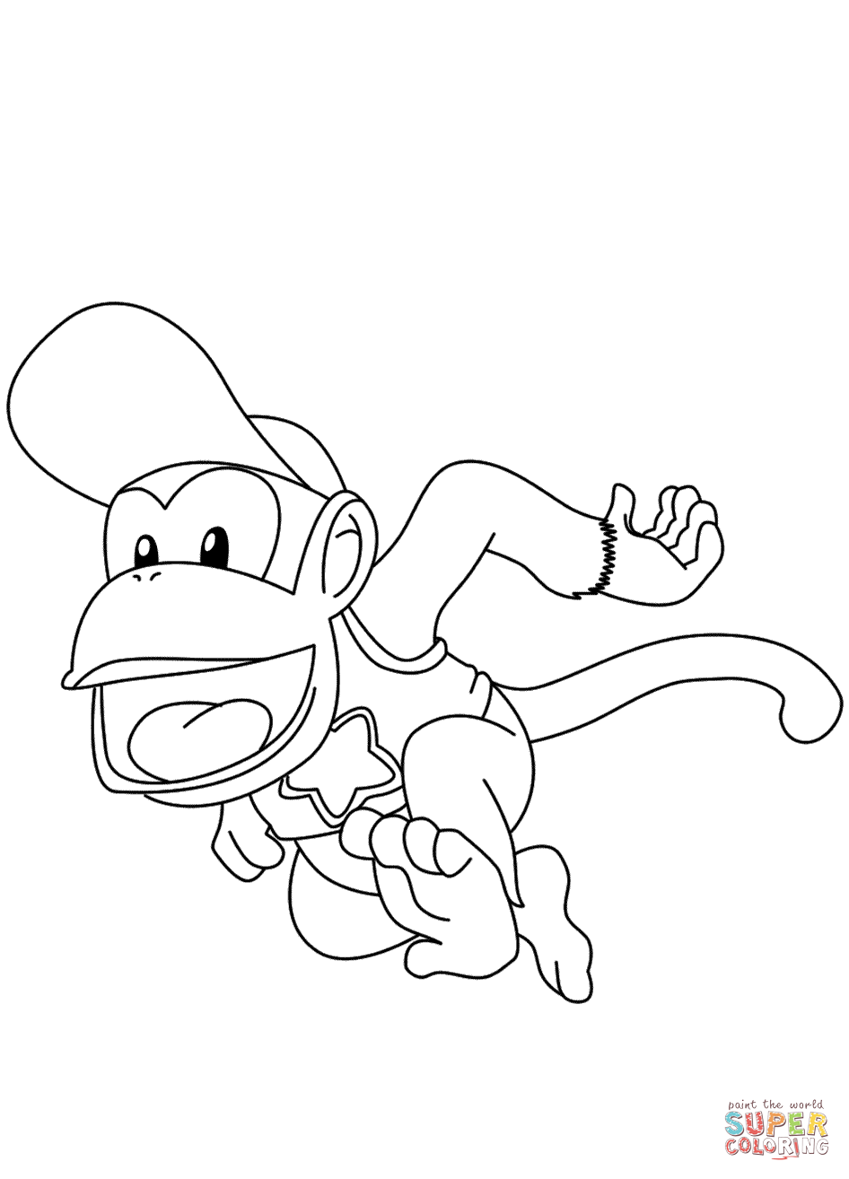 Diddy Kong Coloring Page Free Printable Coloring Pages