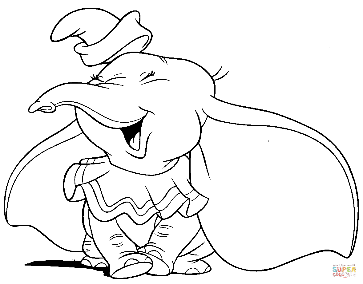 Dumbo Is Laughing Joyfully Coloring Page