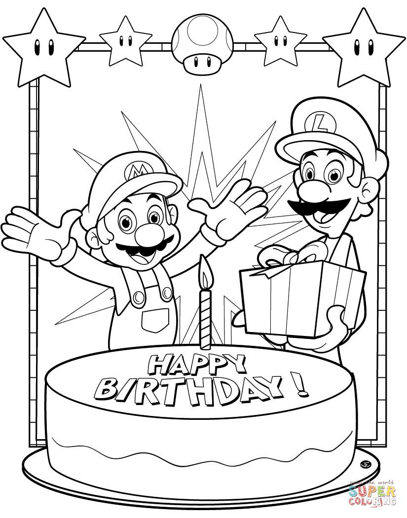 Happy Birthday Mario Coloring Page Free Printable Coloring Pages