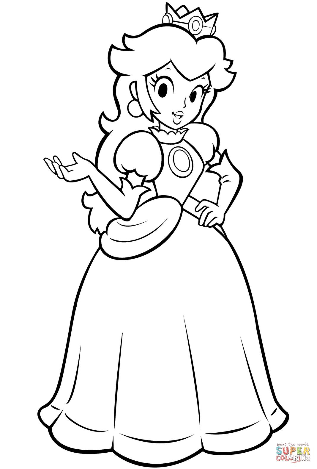 Mario Bros Princess Peach Coloring Page